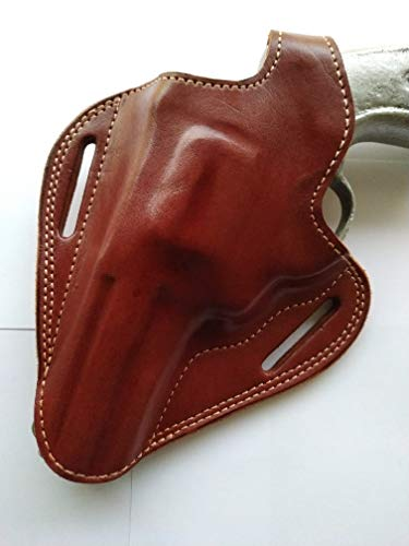 cal38 Handcrafted Leather Belt Holster Tan Black for Taurus Tracker 44 Magnum 4