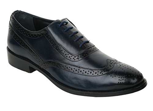 Liberty Handmade Leather Mens Classic Oxford Wingtip Lace up Dress Shoe (8, Blue)