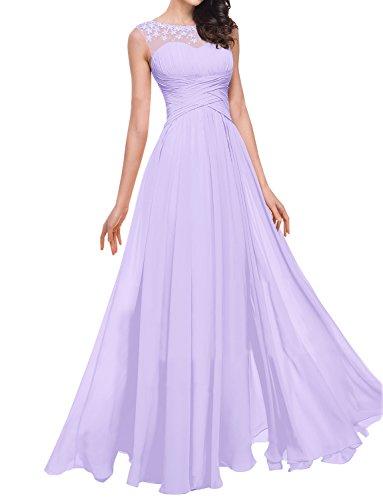 mit Rüschen Bodenlänge Lavendel Abendkleid Chiffon Blume Erosebridal xqBfUwx