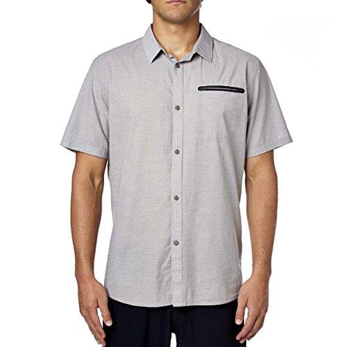 (Fox Racing Mens Fields Woven Button Up Short-Sleeve Shirt Medium Grey)