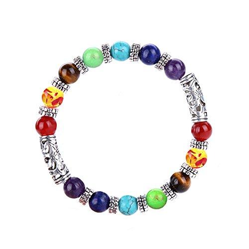(Leefi Jewelry for Men,7 Chakras Yoga Meditation Healing Balancing Round Stone Beads Stretch Bracelet with Symbol Charm(Crack))
