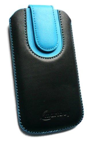 Emartbuy ® HTC One Negro / Azul Pu Del Premio Slide Cuero De La Bolsa / Caja / Manga / Titular (Tamaño 4Xl) Con Mecanismo Ficha De Extracción Y Protector De Pantalla