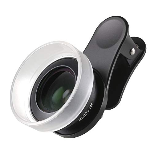 - SIRUI Black 10X Macro Phone Lens with Multi-Purpose Clip, constructed with German Schott Glass and Aluminum Housing, for iPhone, Pixel, Samsung Galaxy and most other Camera Phones