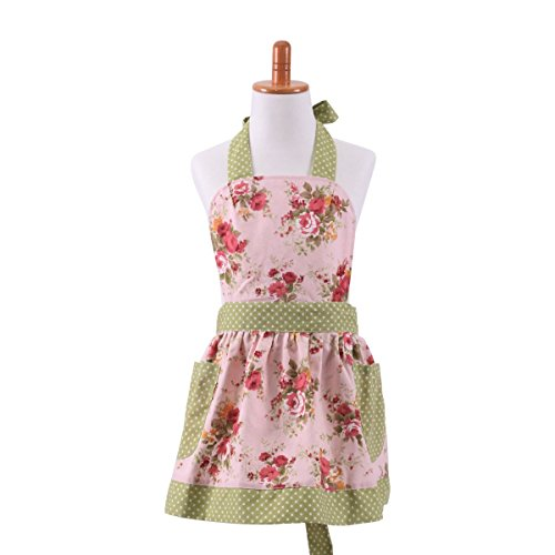 G2Plus Cotton Canvas Pink Floral Gardening Toddler Apron for Children Cooking Baking Apron with Pockets Great Gift for Kid Girl Daughters (Kid Girls)