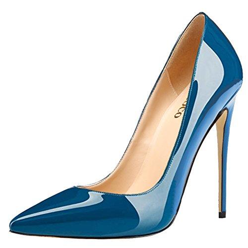 Tacco A Spillo Donna Monocolore Plus Size Scarpe Punta A Punta Pompa Per Abito Da Cerimonia Nuziale Brevetto Blu Oceano