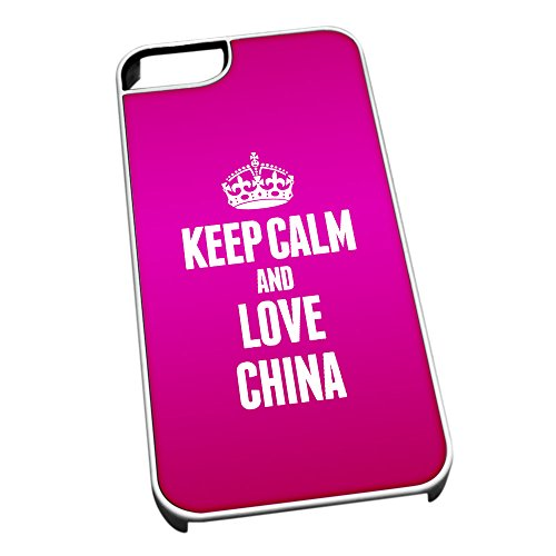 Bianco cover per iPhone 5/5S 2174Pink Keep Calm and Love China