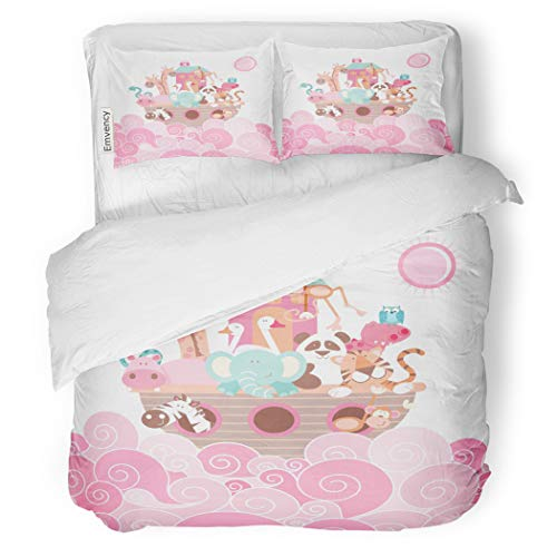 SanChic Duvet Cover Set Baby Noah Ark Pink Animals Jungle Nursery Elephant Decorative Bedding Set with Pillow Case Twin Size