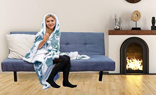 Plush Wearable Blanket - Sherpa Wearable Blanket with Pockets Super Soft Warm Comfy Large Fleece Plush Sleeved TV Throws Wrap Robe Blanket for Adult Women and Men (Light Blue Tourmaline)