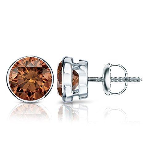 Platinum Round Brown Diamond Bezel-set Stud Earrings (2 ct, Brown, SI2-I1)