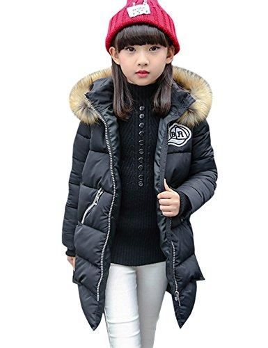 Menschwear Girl's Down Fur Hooded Jacket Winter Warm Outwear Coat (150,Black£ by Menschwear