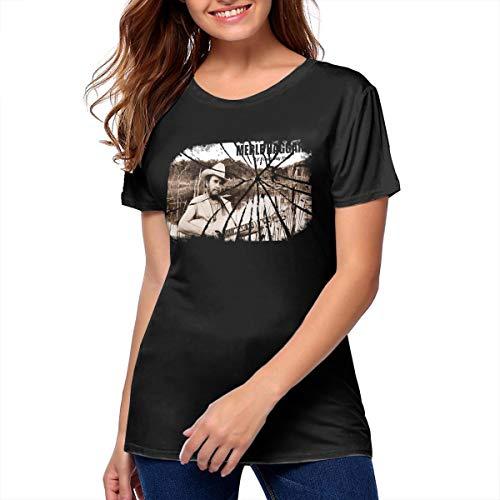 8be6b8b19 MoniqueABeech Women Merle Haggard Fashion Shirt Music Band T Shirt Black M