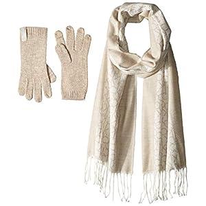 Calvin Klein Women's 2 Pc Woven Border Scarf, Knit Touch Glove