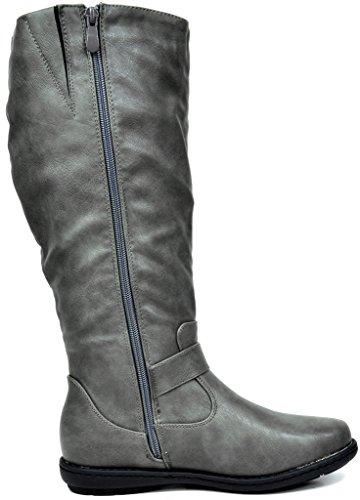 Dream Paare Frauen Faux Pelz gefüttert Kniehohe Winter Stiefel (breit-Kalb erhältlich) Gipfel-grau