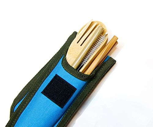 Sipsey Bamboo Travel Utensil Set with Straw and Carrying Case   Wooden Spoon, Fork, Knife, Chopsticks, Straw, Cleaning Brush & Travel Case w/ Carabiner   Perfect for Picnics, School, Office, Camping