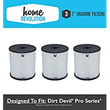 "3 Dirt Devil 7"" Home Revolution Brand Replacement Central Vacuum Filter Fits Pro series; Compare to Part # 8106-01"