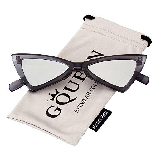 Cobain de tipo Lentes a la Lentes Kurt Plateados de tipo GQZ8 ojo Gafas protección gato y UV GQUEEN Clout Vintage sol con moda Gris Estilo Marco lentes x7wqn18Yn4