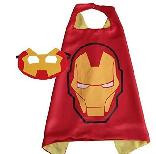 OLG Iron Man Superhero Cape + Mask Children Halloween Costume (Tony Stark Halloween Costume)