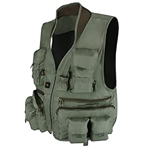 Anglerbasics Army Green Multifunction Airsoft Tactical Vest Quick Dry Multi Pockets Mesh Breathable active Military wear Jacket- Fits for All Outdoor Sports