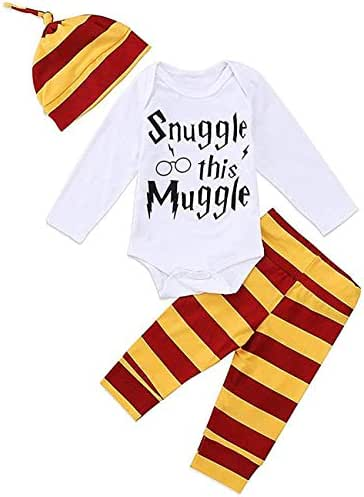 3Pcs/Set Infant Baby Boys Girls Snuggle Rompers+Striped Pants+Hat Take Home Outfits