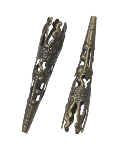 TWO Bolo Tips/Bead Cap 41mm Antique Bronze Tone - 2pcs