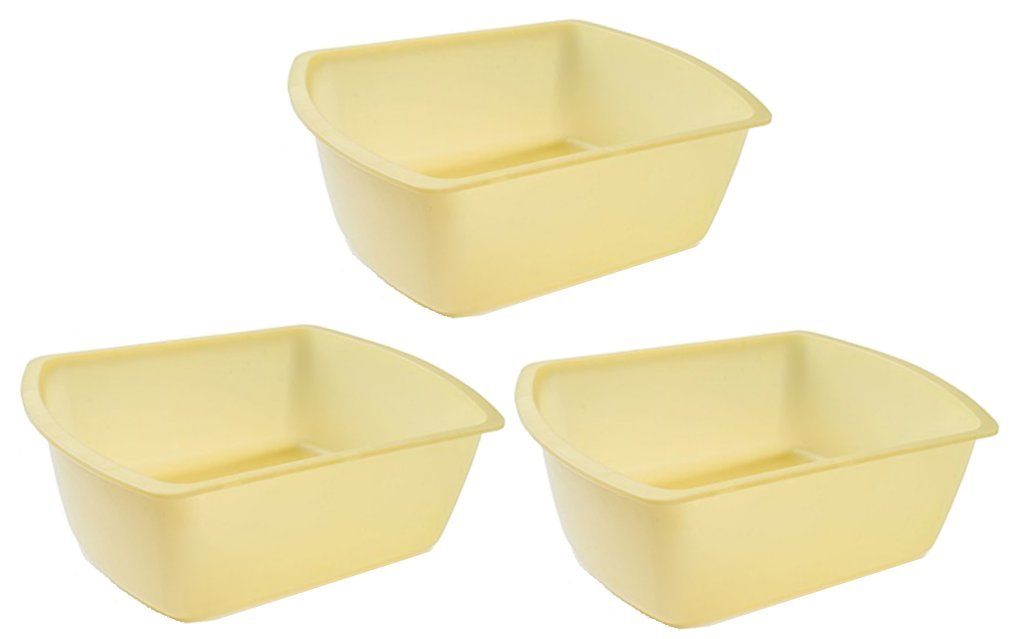 Vakly Rectangular Plastic Wash Basins, Yellow, 8 Quart. Pack Of (3)