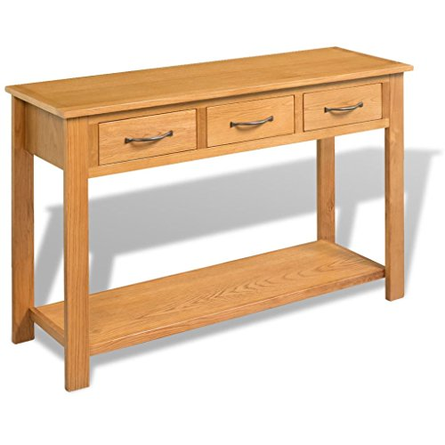 vidaXL Console Table 3 Drawers Desk Side Solid Oak Wood Hall Hallway Entrance (3 Drawer Console Table)