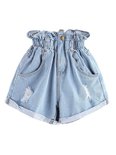Milumia Women's Casual High Waisted Hemming Denim Jean Shorts with Pockets Small Blue-3