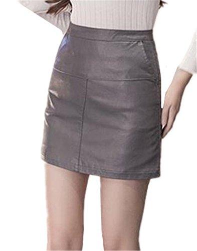 en Court Skirt Line ElGant Amincissante Bodysuit Haililais Femme Cuir Jupe Mini A Jupe Jupe Faux Grey1 Glamour Jupe Femelle Jupe Tendance t TTv6qSOnWg