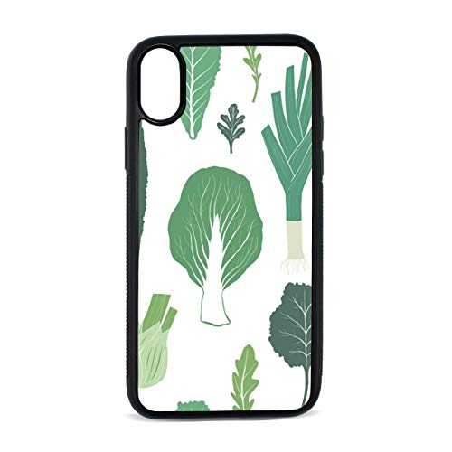 Case for iPhone Lettuce Vegetables Green Creative Digital Print TPU Pc Pearl Plate Cover Phone Hard Case Cell Phone Accessories Compatible with Protective Apple Iphonex/xsCase 5.8 Inch