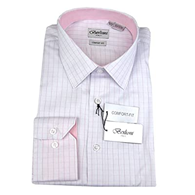 White Pink Mens 100% Cotton Comfort Fit Plaid Dress Shirt
