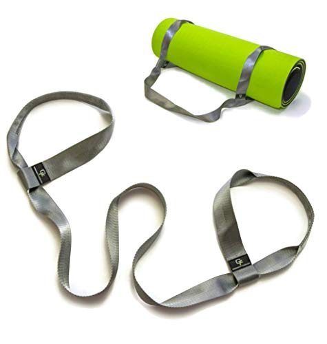 """Gradient Fitness Yoga Mat Strap – sixty six"""" On-the-Go Mat Service, Easy Over-the-Shoulder Sling for Carrying Yoga Mat, Doubles as Yoga Stretch Strap. (Gray) – DiZiSports Store"""