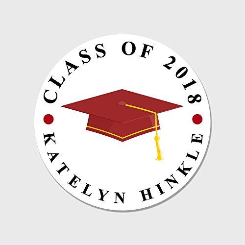 40 Personalized Graduation Favor Stickers - Class of 2018 Envelope Seals - Customized Graduation (Graduation Sticker Seals)
