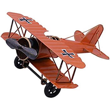IUU Large Retro Iron Aircraft Handicraft Vintage Airplane Model Metal Biplane Plane Aircraft Models Metal Handicraft Home Decor Ornament Toy Handicraft Souvenir (Red)