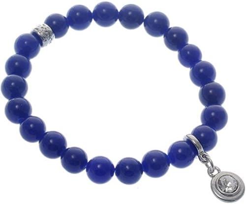 behave Pulsera de piedras preciosas azules con colgante de cristal claro - Pulsera de piedras preciosas azules - Pulsera de piedras natales