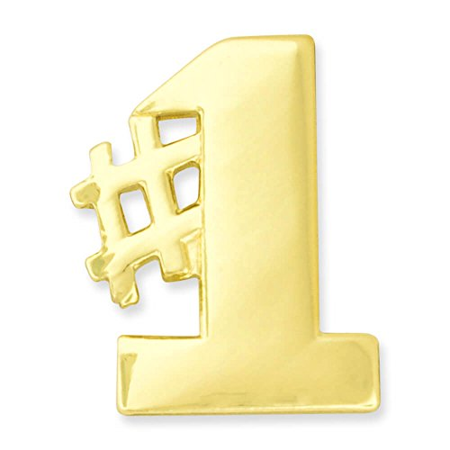 PinMart's Gold Plated Number #1 Hashtag Lapel - Number Pins