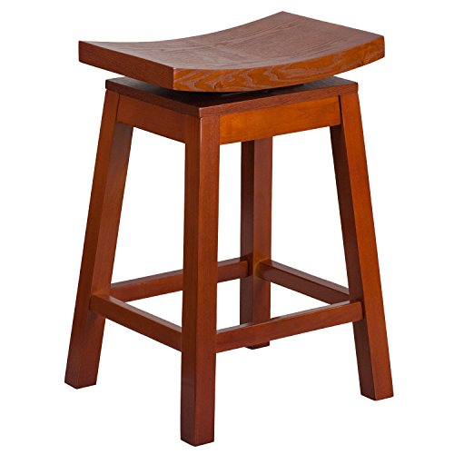 (Flash Furniture 26'' High Saddle Seat Light Cherry Wood Counter Height Stool with Auto Swivel Seat Return)