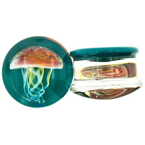 Pair of Glass Double Flared Amber Purple Jellyfish Plugs: 0g Dark Aqua