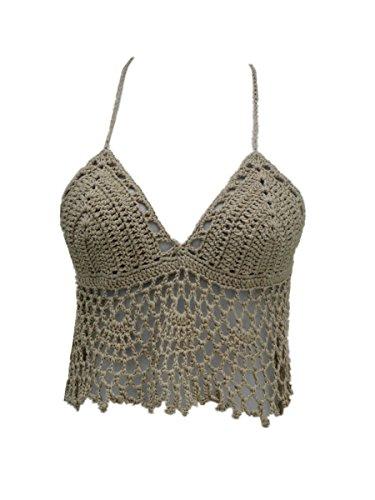 tinacrochetstudio Black Bikini Halter Top Handmade Crochet Crop Top (Khaki, M) Crochet Bikini Top