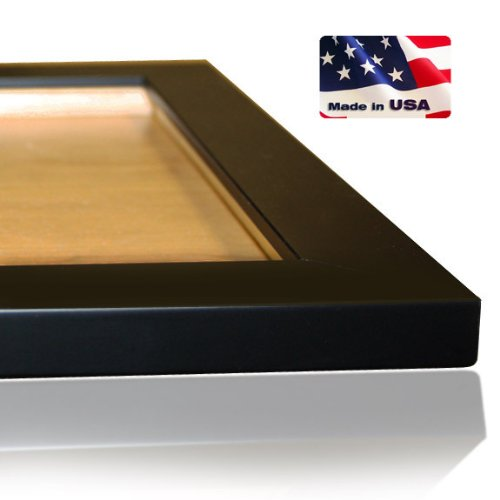 US Art 24x30 Custom Made to Order Wrapped Black Picture Poster Frame Solid Wood 1.25 Inch Wide Moulding ()