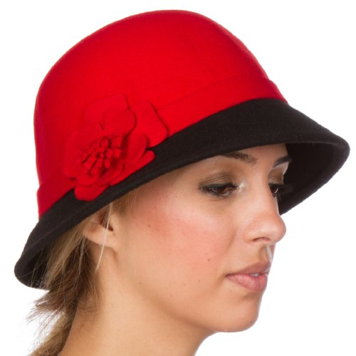 ntage Style Wool Cloche Hat - Red / Black - One Size (Cloche Style Red Wool Hat)