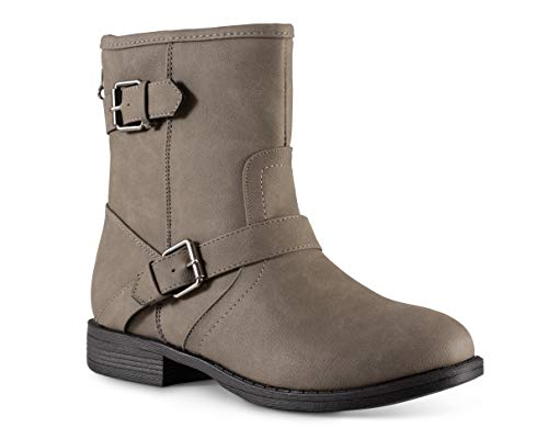Twisted Women's Amira Short Buckle Strap Zip-up Motorcycle Boot Grey