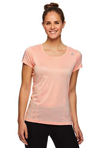 Reebok Women's Dynamic Fitted Performance Short Sleeve T-Shirt - Dyna Impatiens Pink Heather, Medium