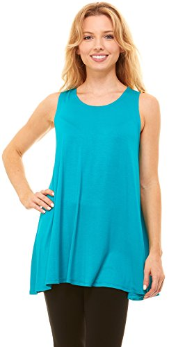 Red Hanger Womens Sleeveless Tunics - Women Flowy Tunic Tank Tops for Leggings (Jade-L) - Turquoise Sleeveless Top
