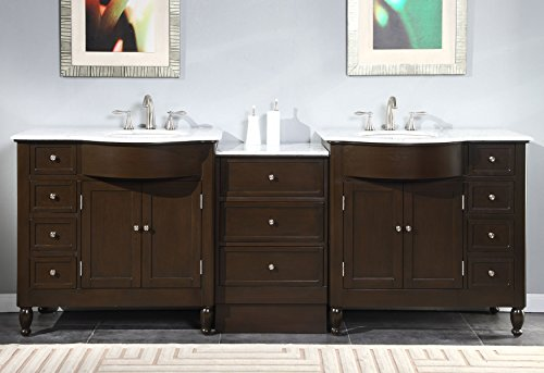 Silkroad Exclusive Marble Stone Top Double Sink Bathroom Vanity with Dark Walnut Cabinet, 95-Inch by Silkroad Exclusive