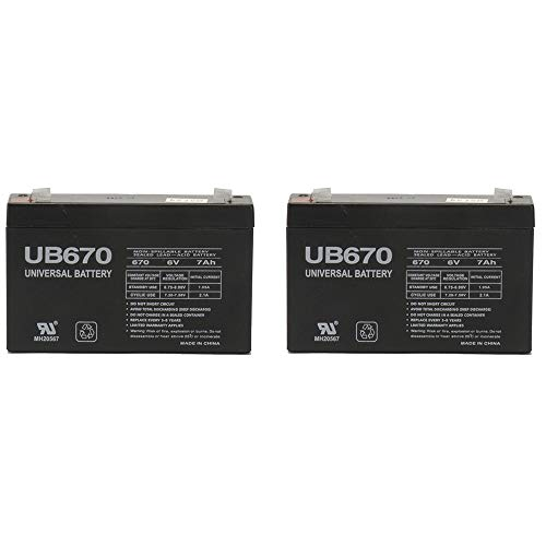 Universal Power Group 6 Volt 7.0 Ah Rechargeable Battery - 2 Pack (6 Volt Battery For Ride On Toys)