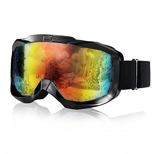Amazer Ski Goggles, Snow Goggles OTG Snowmobile Snowboard Skate Beginner Ski Goggles UV Protection for Women Men Junior Youth (Revo Mirror Orange) (Ski Mobile)