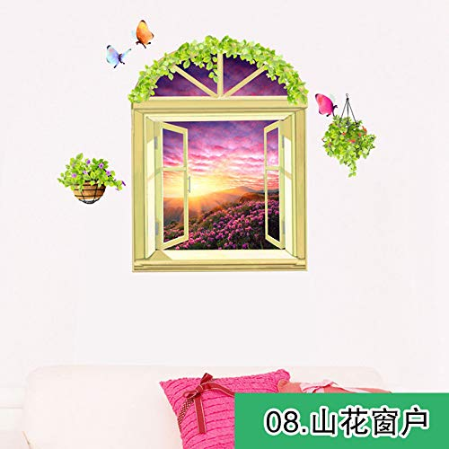 Wall Sticker SoungNerly Simple Creative Living Room Bedroom 3D Stereo Painting self-Adhesive Wallpaper Poster Stickers, Fake Windows, 8 ()