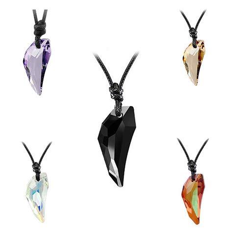 856store Novelty Women Men Fashion Wolf Tooth Rhinestone Pendant Adjustable Black Cord Necklace - Blue