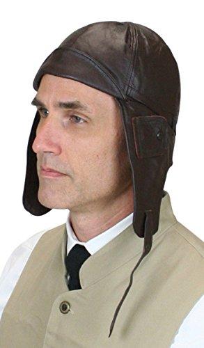 Historical Emporium Men's Genuine Leather Aviator Helmet M Brown