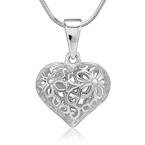 925 Sterling Silver Flower Design Filigree Puff Heart Pendant Necklace, 18 inches